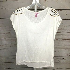 Dolled Up by Fang juniors Embellished Burn Out Top